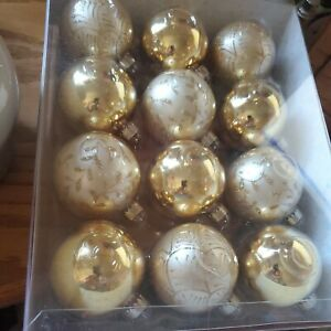 Martha Stewart Collection 12 Gold Glass Ornaments Brand New