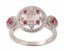 925 Sterling Silver Natural Certified Handmade Ruby Victorian Style Wedding Ring