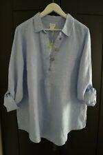 NWT Sigrid Olsen Chic Boho Linen Shirt Blouse Top Tunic Blue Plus Size 1X
