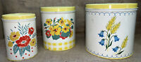 Vintage 3 Piece Metal Kitchen Nesting Canisters red yellow Blue floral