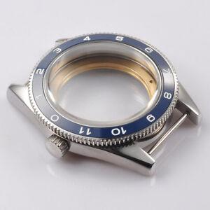 41mm DEBERT SS Blue Ceramic Bezel Sapphire Watch Case Fit ETA 2824 2836 Movement