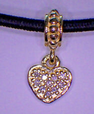 UNBRANDED 14k GOLD DANGLE HEART W/ ASTRALIAN PAVE CLEAR CRYSTAL LOVE CHARM  BEAD