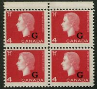CANADA B.O.B. O48 MINT BLOCK OF 4 NH OVERPRINT VARIETY