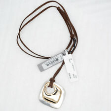 Robert Lee Morris Soho matte silver tone gold plated pendant leather necklace