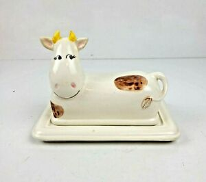 Vintage COW Covered Butter Dish w/ Lid Hand Painted Signed Farmhouse Country