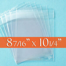 """100 Clear Cello Bags, 8 7/16"""" x 10 1/4"""" inch (8 x 10 photos etc) - Tape on LIP"""