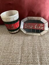 New Bathroom Coca Cola Faux Stained Glass Soap Dish & Water Cup  Free Shipping