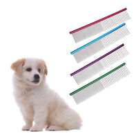 Pet Puppy Dog Cat Stainless Steel Comb Long Hair Shedding Grooming Flea Comb