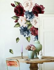 Dark Blue Peony Red and Pink Rose Floral Wall Decal Flower Vinyl Wall Sticker