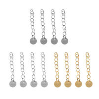 4 925 Sterling Silver Jewelry Clasp Necklace Chain Extender w/Round Coin Tag
