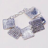 """7"""", Vintage Sterling Silver Handmade Bracelet, 925 Hammered Square Cookie Link"""