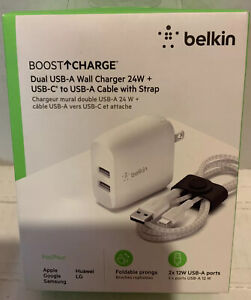 ✅ Belkin Boost Charge Dual USB-A Wall Charger 24W + USB-C to USB-A Cable,