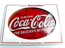 "7.5"" Drink Coca-Cola Hand Painted Glass Suncatcher"