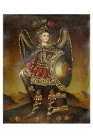 Archangel Michael Original Colonial Cuzco Peru Folk Art Oil Painting On Canvas