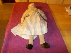 LATE 1800S WHITE CHINA HEAD DOLL ON HOMEMADE BODY WITH EXTRA HOMEMADE CLOTHES