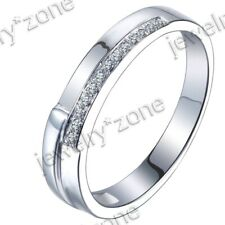 Wedding Simple Style Band Ring Noble Silver AAA Grade Cubic Zirconia Engagement