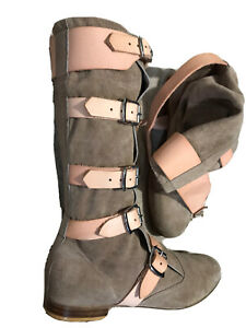 VIVIENNE WESTWOOD pirate BOOTS grey UNISEX size 8 rare LEATHER mens £480 womens