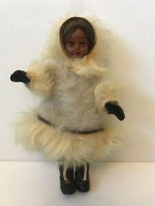 vintage Eskimo woman doll Inuit sleepy eye real fur leather old Alaska