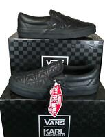 Vans x Karl Lagerfeld Classic Slip-on Sneakers Shoes Quilted Leather BLACK MONO