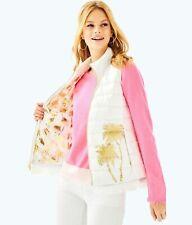 Nwt Lilly Pulitzer Layli Masterpiec Puffer Vest Gold Metallic Palm Xs $278.00