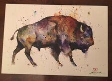 Big Sky Carvers Dean Crouser Bison Buffalo Watercolor Canvas Art Print