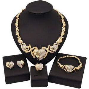 Women Hugs & Kisses Xo Necklace Ring Bracelet & Earrings set 18k Layered...