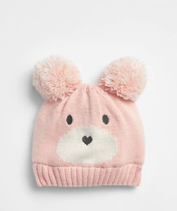 GAP BABY GIRL BEAR POM BEANIE HAT NWT SMALL/MEDIUM MEDIUM/LARGE N5 NNN