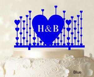 Monogram Cake Topper First Name Initial Heart Cake Topper-Fc0