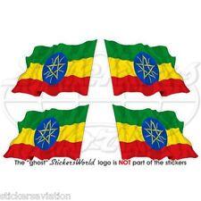 ÄTHIOPIEN Wehende Flagge ÄTHIOPISCHE Afrika Fahne Sticker, Aufkleber 50mm x4