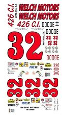 #32 Marty Robbins 1966 Dodge Welch Motors 1/25th - 1/24th Scale Waterslide Decal
