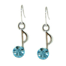 Swarovski Crystal Quaver Earrings Musical Jewelry ~Blue 8th Music Note made with