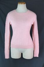 MANTEGA 100% Cashmere Sweater SMALL Pink Cable Knit Crew Neck Pullover