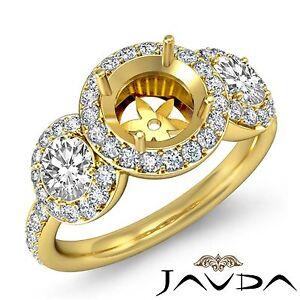 Pre-Set Diamond Engagement Ring 3 Stone Round Semi Mount 18k Yellow Gold 0.85Ct