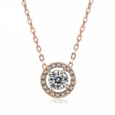 ZARD Round-Cut CZ Halo Charm Pendant Necklace in Rose-Gold Tone Choker