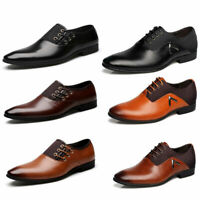 Men's Formal Dress Pointed Leather Toe Oxfords Lace Up Driving Moccasins Shoes