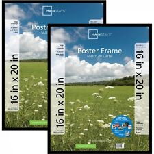 "Set Of 2 16""x20"" Basic Wall Poster Picture Photo Hanging Frames Home Decor Black"