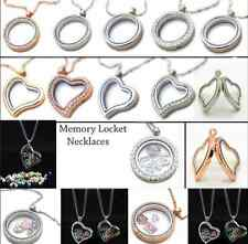 Fashion Living Memory Locket Floating Heart/Round Crystal Cute Pendant Necklace