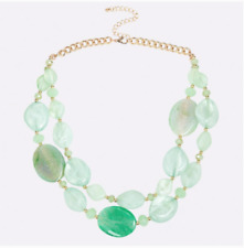 New Turquoise Jade Stone Two Strand Necklace Beautiful Womens Gift