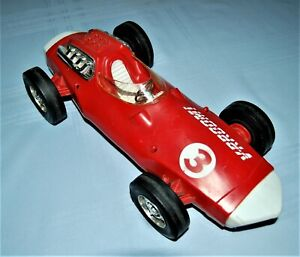 """1963 MATTEL VRROOM FRICTION 14"""" PLASTIC RACER GENTLY PLAYED WITH - W0RKS"""
