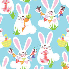 EASTER BUNNY Fabric Fat Quarter Cotton Craft Quilting Happy SPRING Funny Bunny