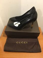 GUCCI Kristen Bamboo Heel Pointed Pumps Shoes in Black UK 6.5/EU 39.5