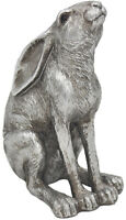 Silver Hare Statue Reflection GAZING HARE Figurine Countryside Ornament Figure