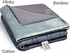 """King Size Weighted Blanket Premium Quality 80"""" x 87"""" (30 lbs Minky+Bamboo Cover)"""
