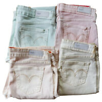 Bespoke womens coloured Levi jeans low rise skinny stretch spring colours