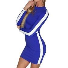 Women Lady Long Sleeve Bandage Bodycon Evening Party Stripe Short Mini Dress CA