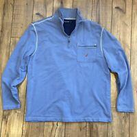 Nautica Men's Large Light Blue 1/4 Zip Polo Long Sleeve Pullover 100% Cotton