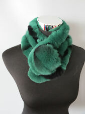 100% Real rabbit fur scarf/  wrap/ collar 2017 new shawl green shipping free