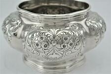 LOVELY UNUSUAL GORHAM SILVER CO EMBOSSED REPOUSSE FLORAL WASTE POT TEA CADDY