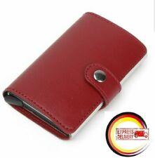 a1b60bfe12 ASTUCCIO carte di credito Portafoglio Slim Wallet RFID NFC BLOCCANTE  ALLUMINIO ROSSO