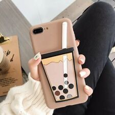 3D New Hot Pearl milk tea Cute Creative Silicone Case Cover For Various Phones